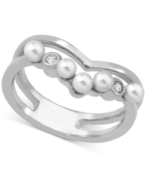 Majorica Accessories STERLING SILVER CRYSTAL & IMITATION PEARL DOUBLE-ROW RING