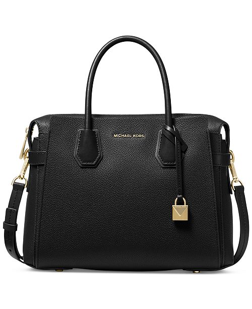 Michael Kors Mercer Belted Pebble Leather Satchel