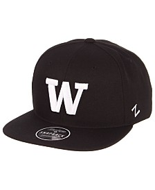 Zephyr Washington Huskies Black & White Snapback Cap
