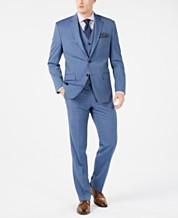 00dddfd1313227 Lauren Ralph Lauren Men's Classic-Fit UltraFlex Stretch Light Blue Tic Suit  Separates