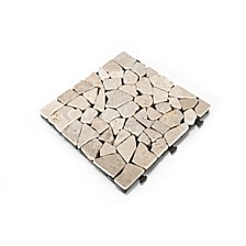 Natural Tavertine Stone Deck Tile, 6 Piece Set