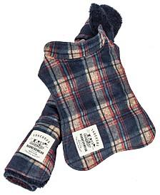 Touchdog 2-in-1 Tartan Plaided Dog Jacket with Matching Reversible Dog Mat