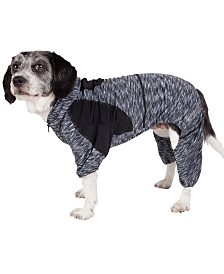 Pet Life Active 'Downward Dog' Performance Two Toned Full Body Warm Up Hoodie