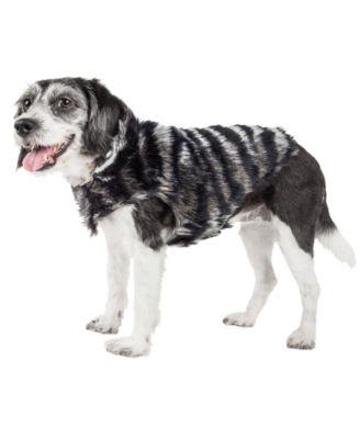 Pet Life Luxe 'Chauffurry' Beautiful Zebra Patterned Faux Fur Dog Coat Jacket