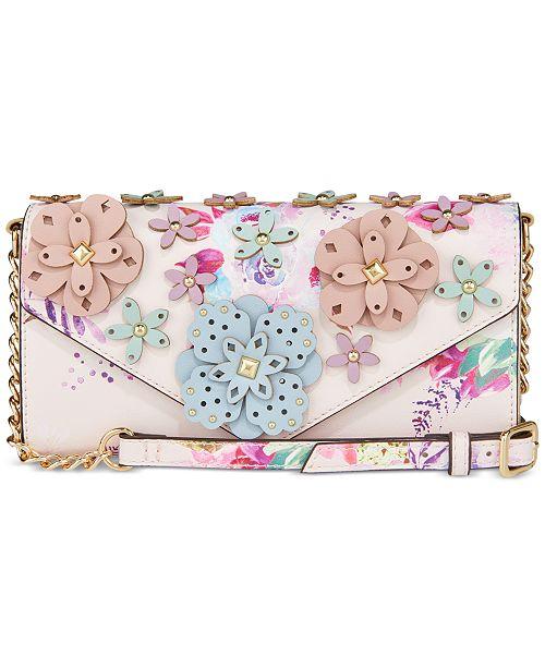 Nine West 3D Floral Wallet On A String