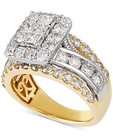 Diamond Two-Tone Halo Engagement Ring (3 ct. t.w.) in 14k Gold & 14k White Gold