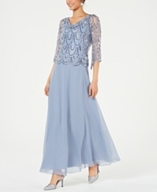 J Kara Cowlneck Beaded Gown
