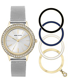 Women's Stainless Steel Mesh Bracelet Watch 35mm Gift Set