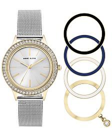 Anne Klein Women's Stainless Steel Mesh Bracelet Watch 35mm Gift Set