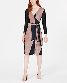 Colorblocked Shine Knit Wrap Dress, Created for Macy's