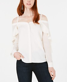 Bar III Off-The-Shoulder Ruffle-Trim Blouse, Created for Macy's