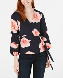 Bar III Floral-Print Surplice Blouson Top, Created for Macy's