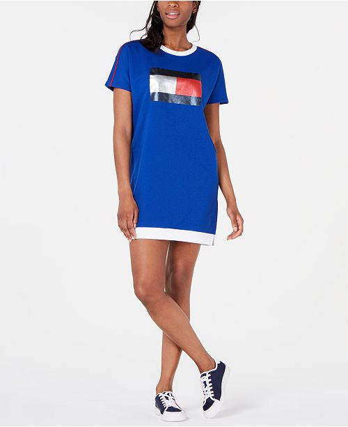 82e0416a0a5c Tommy Hilfiger Logo T-Shirt Dress   Reviews - Dresses - Women - Macy s