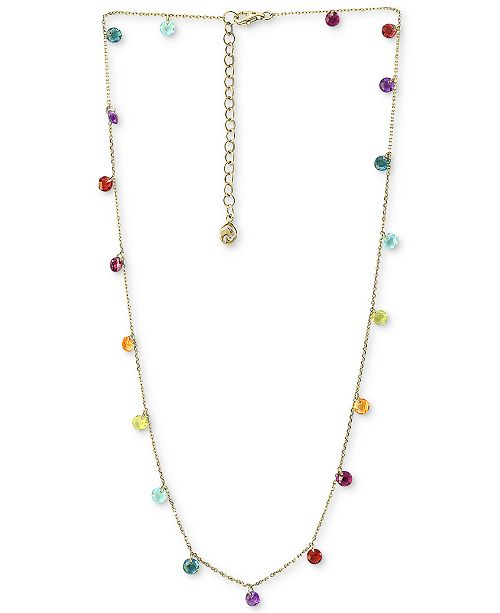 "EFFY Collection EFFY® Multi-Gemstone (6 ct. t.w.) Statement Necklace, 18"" + 2"" extender, in 14k Gold"