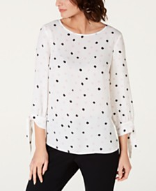 Nine West Polka-Dot Print Blouse