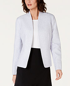 Nine West Open-Front Tweed Blazer