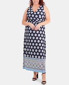 NY Collection Plus Size Border-Print Faux-Wrap Dress