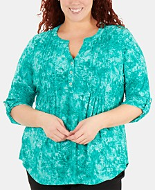 8dd6825f6b3 NY Collection Plus Size Tucked-Front Tie-Dye Printed Top
