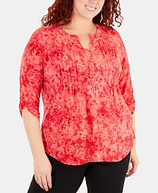NY Collection Plus Size Tucked-Front Tie-Dye Printed Top