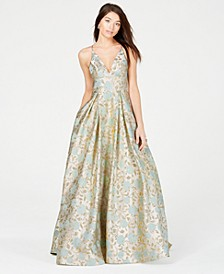 Juniors' Metallic-Print Ballgown