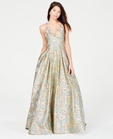 B Darlin Juniors' Metallic-Print Ballgown