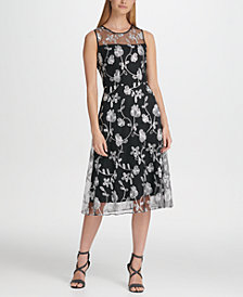 DKNY Floral Embroidered Mesh Midi A-Line Dress, Created for Macy's