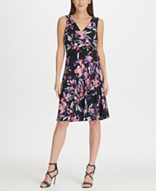 DKNY Side Tie Jersey Floral A-Line Dress, Created for Macy's