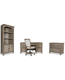 York Home Office, 4-Pc. Furniture Set (Executive Desk, Upholstered Desk Chair, Lateral File Cabinet & Bookcase)