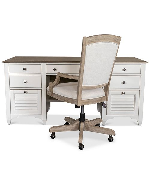 Furniture York Two-Tone Home Office, 2-Pc. Furniture Set (Two-Tone Credenza Desk & Upholstered Desk Chair)