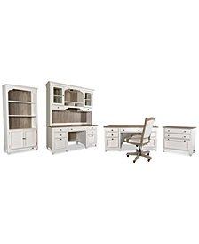 York Two-Tone Home Office, 6-Pc. Furniture Set (Two-Tone Executive Desk, Credenza Desk, Credenza Hutch, Upholstered Desk Chair, Lateral File Cabinet & Bookcase)