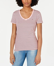 Tommy Hilfiger Cotton Striped Logo-Accent Top, Created for Macy's