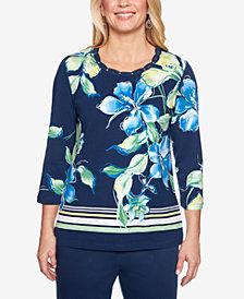 Alfred Dunner Cote D'Azur Embellished-Neck 3/4-Sleeve Top