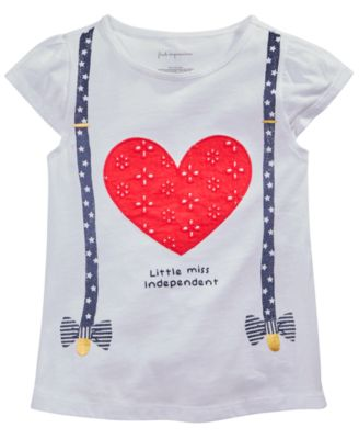 Baby Girls Heart & Suspenders Graphic T-Shirt, Created for Macy's