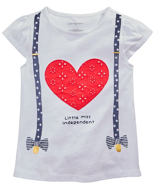 First Impressions Baby Girls Heart & Suspenders Graphic T-Shirt, Created for Macy's