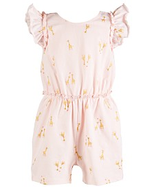 First Impressions Baby Girls Giraffe-Print Cotton Romper, Created for Macy's