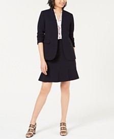 Bar III Bi-Stretch Jacket, Printed Blouse & Ruffled Skirt, Created for Macy's