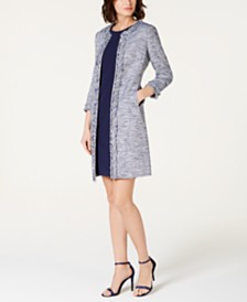 Anne Klein Tweed Fringe Collarless Jacket & Extended Shoulder Dress