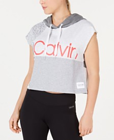 Calvin Klein Performance Colorblocked Sleeveless Cropped Hoodie