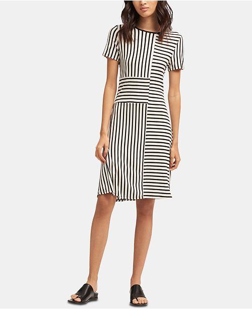 Short Sleeve Crewneck Striped Dress