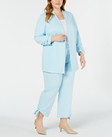 Alfani Plus Rouched Sleeve Jacket & Plus Side Tie Ankle Pant
