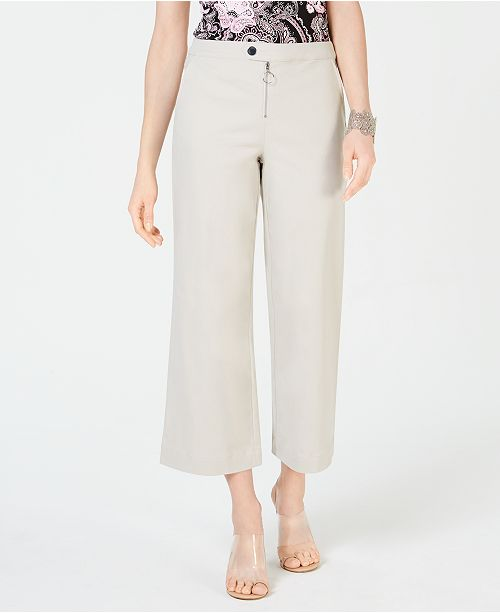 INC International Concepts I.N.C. Zip-Front Wide-Leg Pants, Created for Macy's
