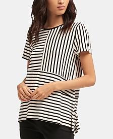 DKNY Short-Sleeve Crewneck Striped Top