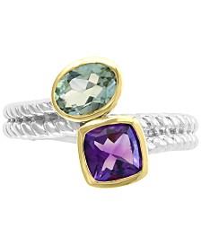 EFFY® Amethyst (1-1/10 ct. t.w.) & Green Quartz (1/2 ct. t.w.) Ring in Sterling Silver & 18k Gold-Plated Silver