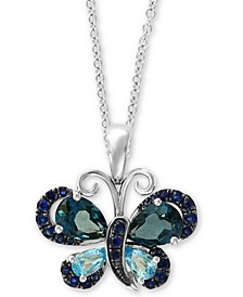 "EFFY® Multi-Gemstone (2 3/4 ct.t.w.) 18"" Pendant Necklace in 14k White Gold"
