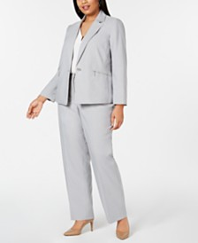 Kasper Plus Size One-Button Shawl-Collar Jacket, Sleeveless V-Neck Crepe Blouse & Linen Pants