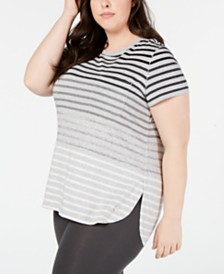 Calvin Klein Performance Plus Size Striped Pocket T-Shirt