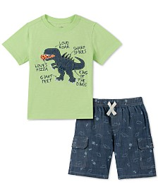 Kids Headquarters Little Boys 2-Pc. Dinosaur Appliqué T-Shirt & Printed Chambray Shorts Set
