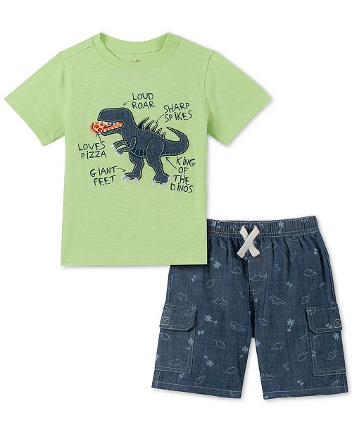 Kids Headquarters Little Boys 2-Pc. Dinosaur Appliqué T-Shirt & Printed Chambray Shorts Set