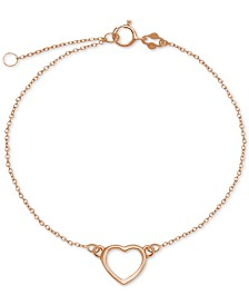 Open Heart Ankle Bracelet in Sterling Silver