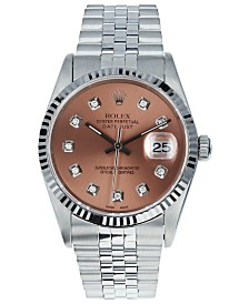 Pre-Owned Rolex Men's Swiss Automatic Datejust Copper Diamond Dial in 18K White Gold Bracelet Watch, 36mm